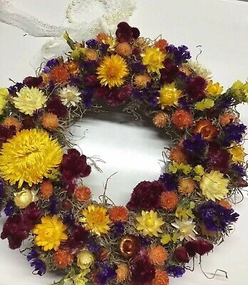 "10"" Dried Flowers Wreath Floral Arrangement, Yellows, Gold, Orange, Farmhouse"