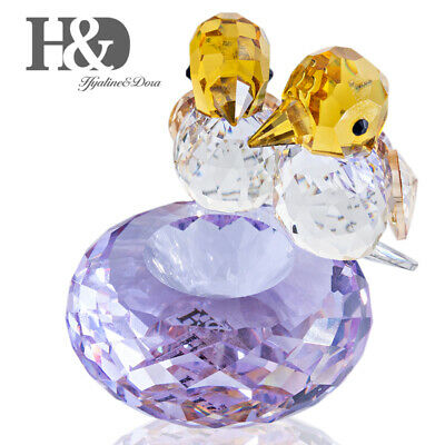 Crystal Lovebirds Figurine Glass Animal Collection Paperweight Mothers Day Gift