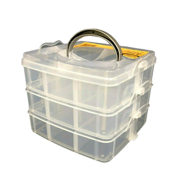 Small 3 Tiers Snap Clear Plastic Storage Box Case Organiser Craft Tool Sew