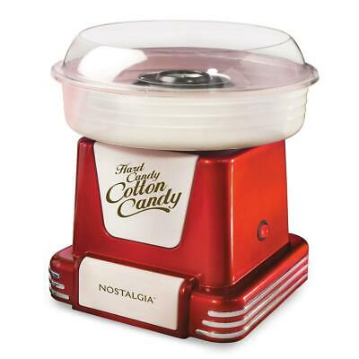 Nostalgia Retro Cotton Candy Machine Clear Rim Guard 2-Reusable Cones Red Finish
