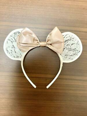 Tokyo Disney Resort Minnie Mouse Headband White Lace ears with pink ribbon