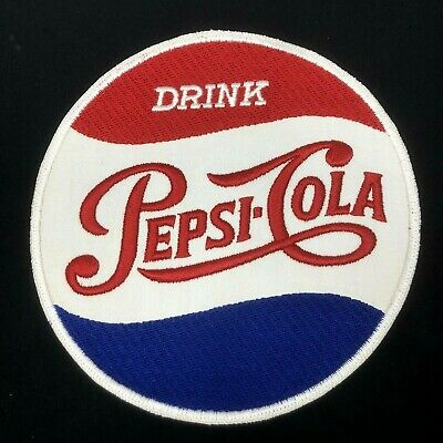 "Nice & Clean Vintage PEPSI COLA Large 7""+ Round Cloth Soda Pop Patch RARE"