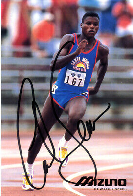 Carl Lewis - American Olympic Track & Field Athlete Hand Signed Colour Photo.