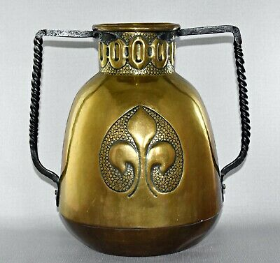 ANTIQUE ARTS & CRAFTS BRASS AND WROUGHT IRON TWIN HANDLED VASE 28cm