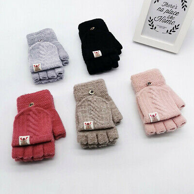 Children Kids Winter Warm Knitted Convertible Flip Top Fingerless Mittens Gloves