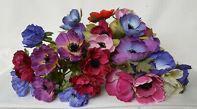 Job Lot Of Artificial Silk Flowers Anemone Anemones Mixed 25 Heads, 3 Bunches
