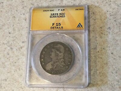 1829 50c Capped Bust Half Dollar ANACS F 15 DETAILS