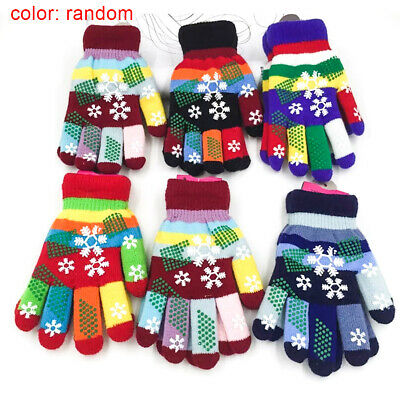 Childrens Multi Stripe Magic Gloves Girls Boys Kids Stretchy Knitted Winter Warm