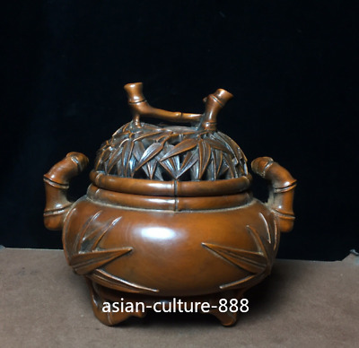 "5"" Fine Chinese Boxwood Wood hand-carved bamboo furnace Incense Burner Censer"