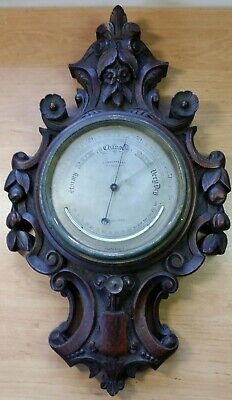 A Good 19th Century Carved Oak Aneroid Barometer, for Restoration...............