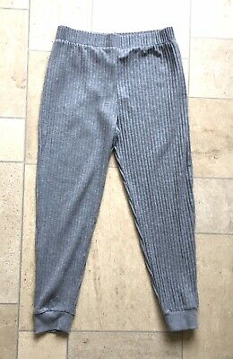 Girls RIVER ISLAND Grey Ribbed Baggy Leggings Jogging Bottoms Age 9-10 Years