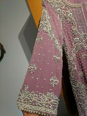 Pakistani/Indian Lengha Suit In Lilac With Pearls And Diamontes - Size 16 - Wow!