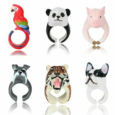 Lovely 3D Animal Cute Pig Panda Dog Tiger Parrot Finger Rings Statement Jewelry