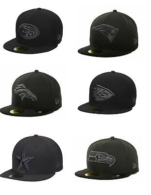 New Era NFL Black Charcoal Gray Basic 59FIFTY Blacked Out Fitted Hat