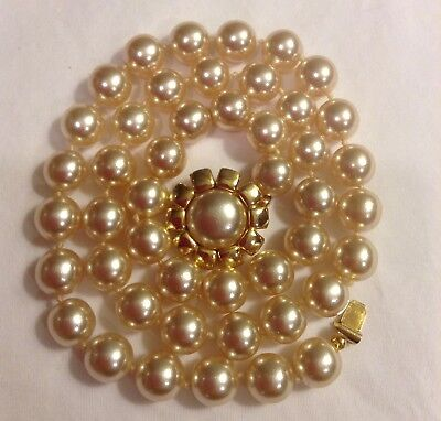 """Joan Rivers Simulated 10mm Pearl Necklace Single Strand Hand Knotted 26"""""""