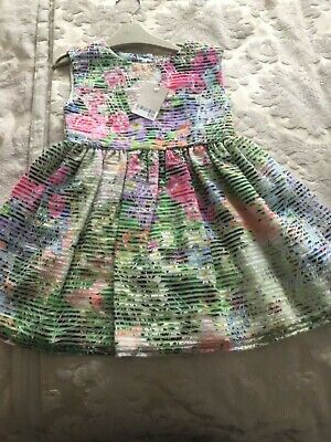 NEXT BNWT girls Easter/Spring/ summer/occasion floral and striped dress age 2-3
