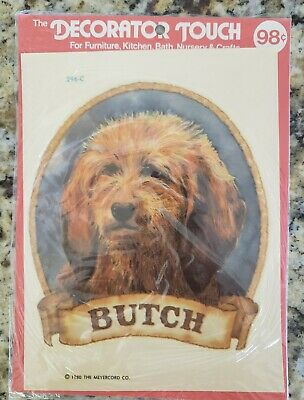 """Vintage 1980 THE MERERCORD CO. Decorator Touch Decal Transfer """"Butch"""" Dog 296-C"""