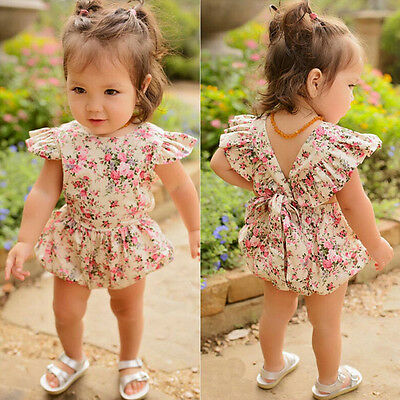 Toddler Baby Girls Floral Romper Jumpsuit Playsuit Bodysuit Summer Dress AAA UK