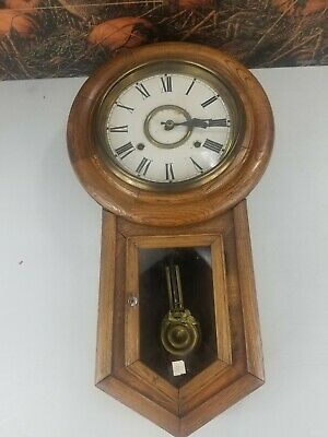 Antique School House Wall Clock Globe seth Thomas