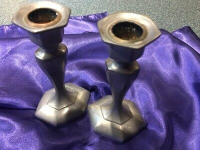 set vintage colonial pewter candle holders by Boardman