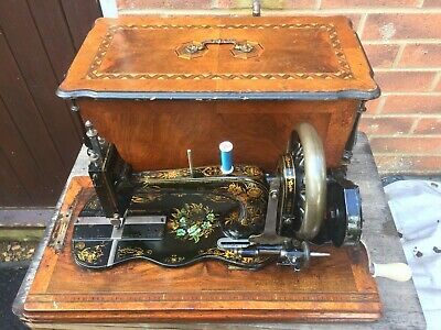 Vintage/Antique Naumann Fiddle Base HandCrank Sewing Machine , vintage Home Deco