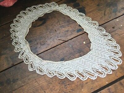 Antique Vintage Czech Glass Beaded on Silk Collar Clear & Gold Beads Sewing