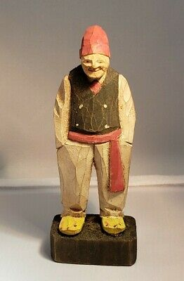 Vintage Miniature Hand Carved Wooden Figurine Old Man Sailor Germany 4.5 ""