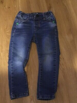 Next - Boys Blue Jeans With Green Studs - 18-24 Months - Good Condition