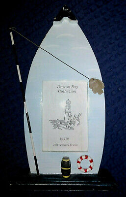 """Rustic Wooden Decorated Picture Frame Beach Seaside Boat Nautical Fishing 11"""" H"""