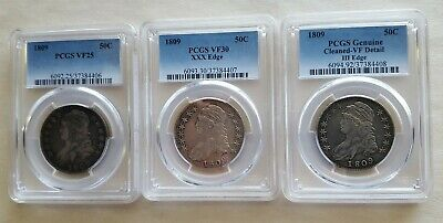 1809  Normal, XXX, and III Edge Bust Half Dollars, all PCGS
