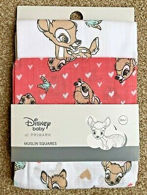 3 x DISNEY BAMBI BABY GIRLS MUSLIN SQUARES BURP CLOTH BIB NEW! - PRIMARK