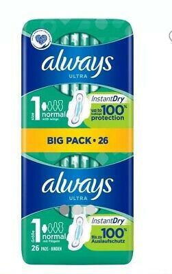 4x Always Ultra Normal Sanitary Towels Pads(104) Size 1 Wings Women Absorbent