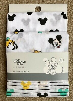3 x DISNEY MICKEY MOUSE BABY UNISEX MUSLIN SQUARES BURP CLOTH BIB NEW! - PRIMARK