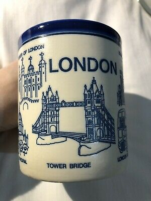 Vintage London Céramique Tourist Tasse Bleu Blanc Collectionneurs Article Global
