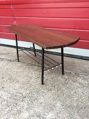 Vintage Wooden And Metal Coffee Table, Upcycling Project, Retro, Mid Century