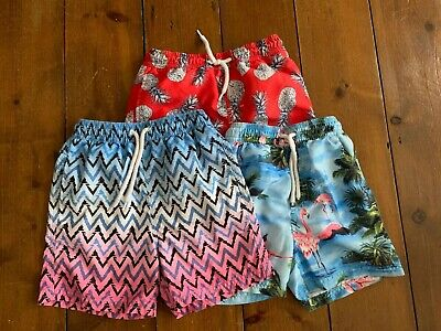 Boys NEXT Age 5 - 6 Years Swim Shorts BUNDLE x 3 Red Blue Patterned