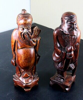 Vintage Pair of Carved Wood Bearded Chinese Men Figurines Intricate Detail