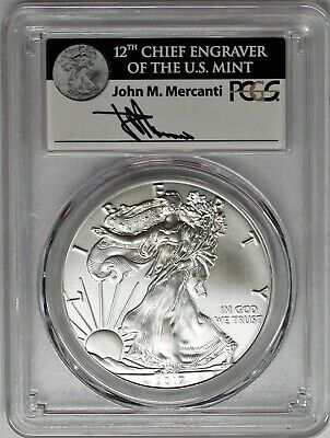 2017 (W) $1 Silver Eagle PCGS MS70 First Strike Mercanti Signature 1 of 1000