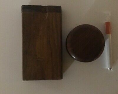 """4"""" Wooden Tobacco Dugout Box with 3"""" Metal Pipe One Hitter + wood Grinder"""