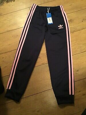 Navy And Pink Adidas Tracksuit Girls Pants Aged 9/10 Years BNWT