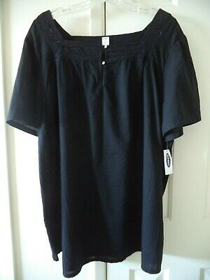 Old Navy Black Embroidered Lace Inset Square Neck Peasant Top Blouse 2X 22 24 3X