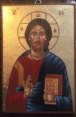 Hand painted orthodox byzantine  icon  of Jesus Christ Pantocrator.