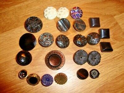 24 x Vintage Black & White etc. Glass Buttons Some Unusual Sets