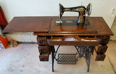 """REDUCED"" Antique 1910 Singer Treadle Sewing Machine with Cabinet"