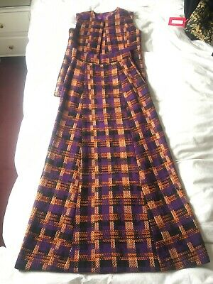 Vintage Purple Plaid Two-Piece Long Skirt 1970s Size 8 - 10