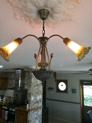 Antique angel trumpet light fittings