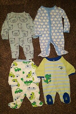 Lot Of 4 Newborn Footed Sleepers Carters bears and cars