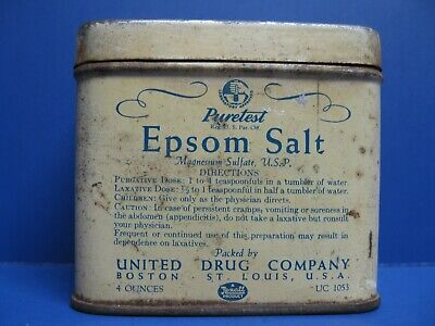 VINTAGE Puretest Epson Salt United Drug Company A Rexall Product 4 oz Tin Can