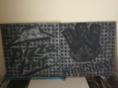 "2 Pizza Hut & Wing Street Logo Signs Panels 22"" x 22"" Under The Counter"