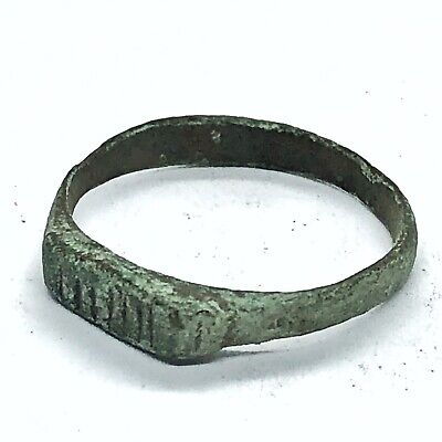 Rare Authentic Ancient Roman Brass Ring Artifact - European Antiquity Relic Old